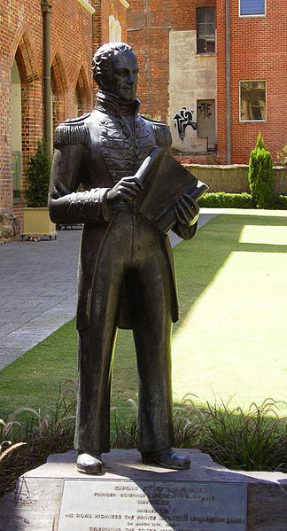 Statue of Lt-Governor James Stirling in Perth. Courtesy WIKIMEDIA