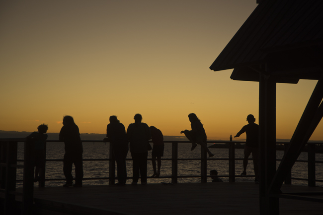 bathers beach sunset