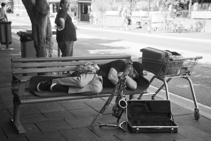 tired busker
