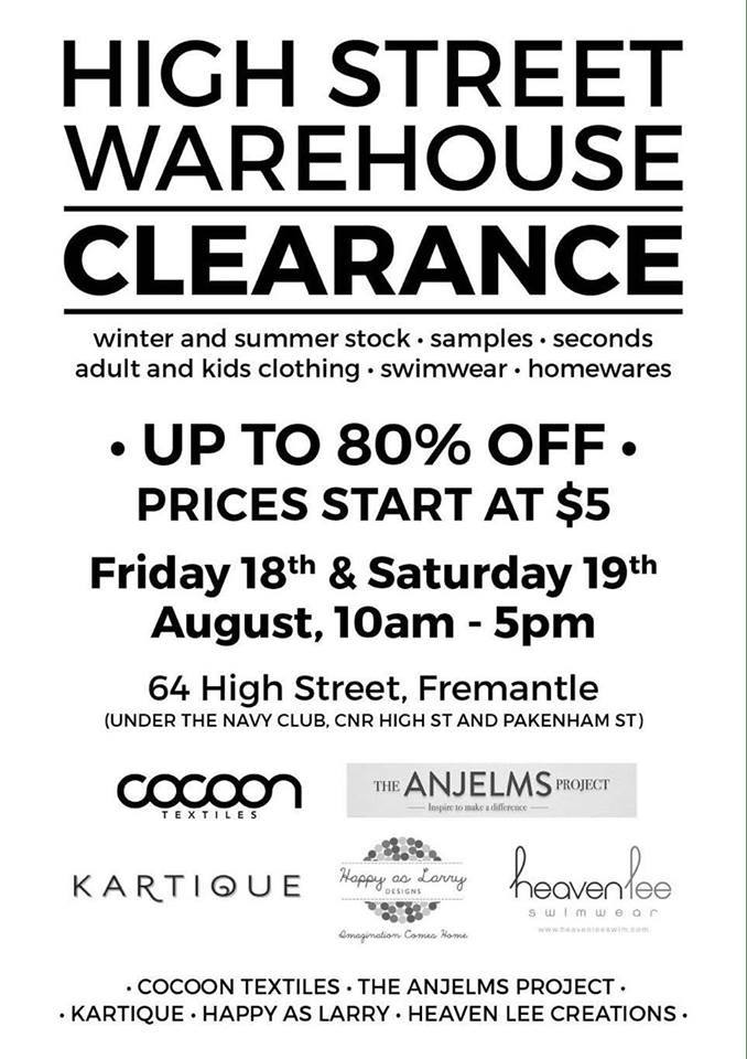Aug 17 high st warehouse clearing