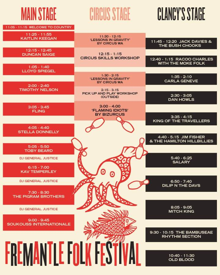 Folk Fest line up and times