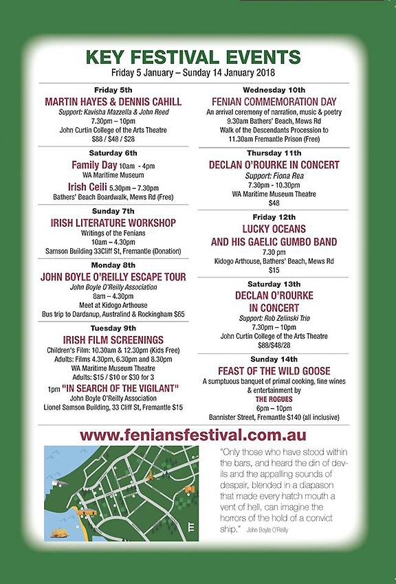 FENIANS festival events calendar