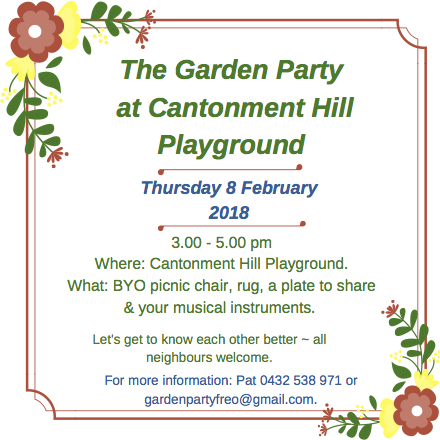 Garden Party on Cantonment Hill