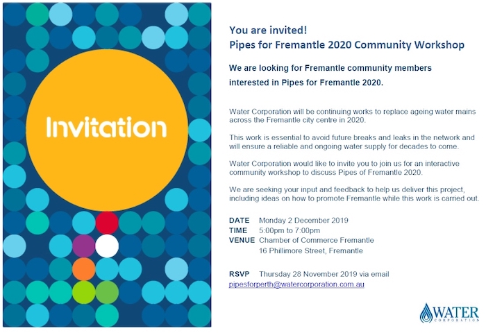 You are invited Pipes for Fremantle 2020 Workshop